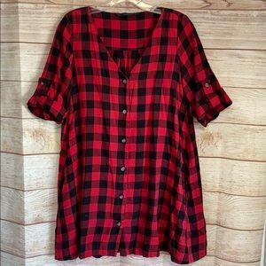 Zara Plaid Shirt Dress Tunic